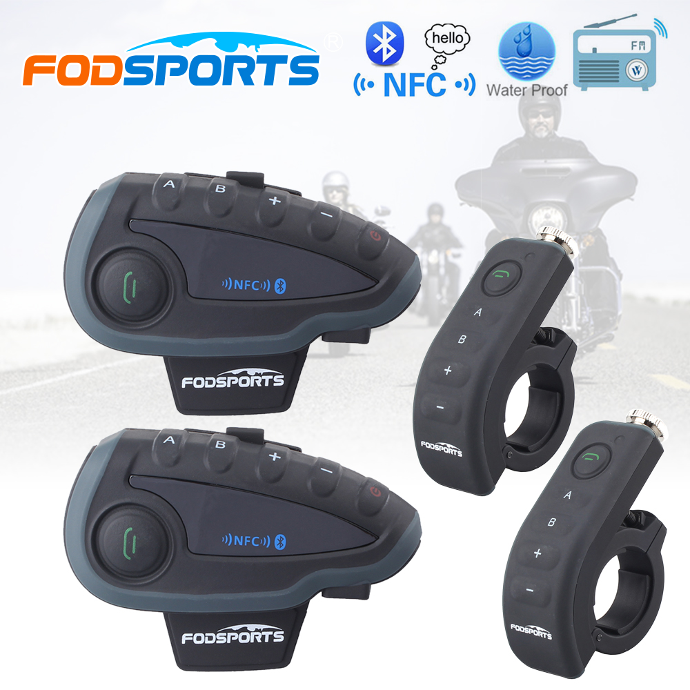 2 pcs Fodsports 5 riders V8 1200M motorcycle interphone bluetooth helmet headset with remote control FM bt moto intercomunicador lexin 2pcs r6 1200m bt motorcycle wireless intercom helmet headsets for 6 riders intercomunicador bluetooth para motocicleta