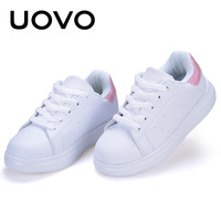 UOVO New Fashion Casual Children Shoes White Color Boys Girls Shoes Breathable Anti Slip Sneaker For