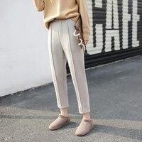 2017 אופנה חדשה חורף נשים מזדמנים הרמון מכנסיים צמר לעבות נקבה Pantalon תחתון מכנסיים חליפת חאקי השחור