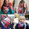 2018 Winter Scarf Women Cashmere Plaid Pashmina Scarf Luxury Brand Blanket Wraps Female Scarves and Shawls 140*140*210cm 3