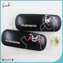 Lymouko New Design Cute Black Bear Metal Glasses Case Portable pu Leather for Kit Holder Container Box