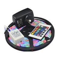 Vakantie Decoratie Licht SMD3528 RGB 5 M 300 LED Waterdichte Led Strip flexibele Light DC 12 V + 2A Voeding + IR Afstandsbediening