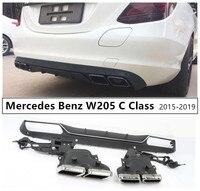 For Mercedes Benz W205 C Class C180 C200 C260 C300 2015 2019 Rear Lip Spoiler & Exhause High Quality PP Bumper Diffuser