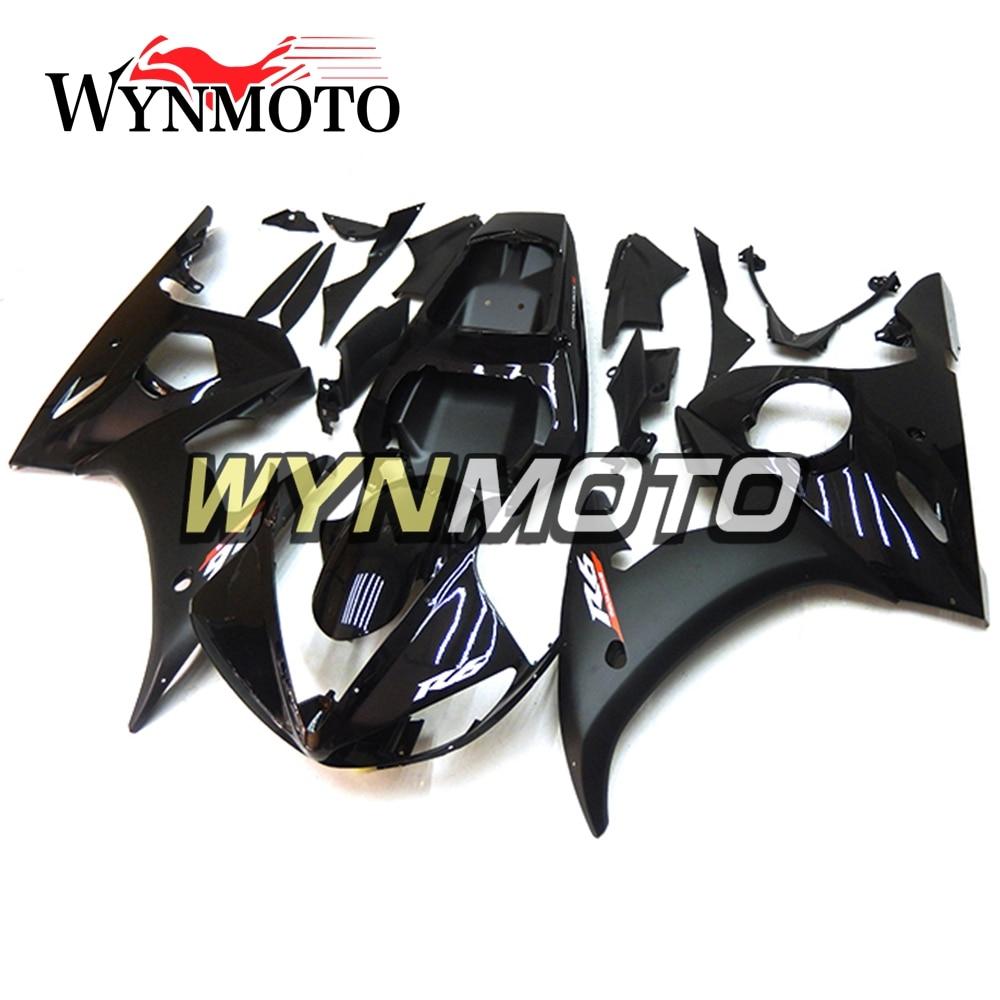 Complète Carénages Kit Pour Yamaha R6 2005 05 Année Injection Plastique ABS Carrosserie Kit Moto Noir Capots Cadres Moto