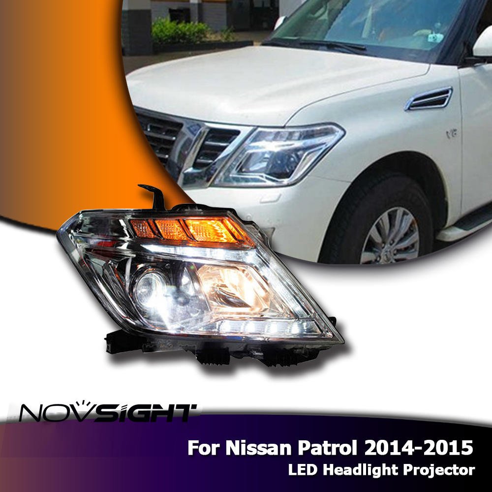 NOVSIGHT Auto Car LED Headlight Headlamp Assembly Projector DRL Fog Light For Nissan Patrol 2014-2015 110w pair h7 cob led headlamp light 12v beam auto car led headlight bulb kit white 6000k 9200lm auto led headlight source txvso8