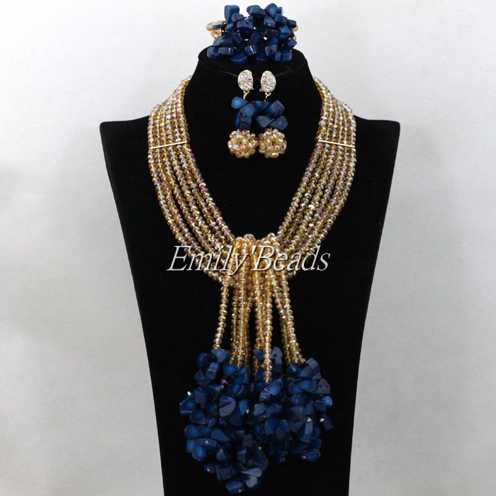 African Gold Crystal Beads Necklace Bracelet Earrings Jewelry Set