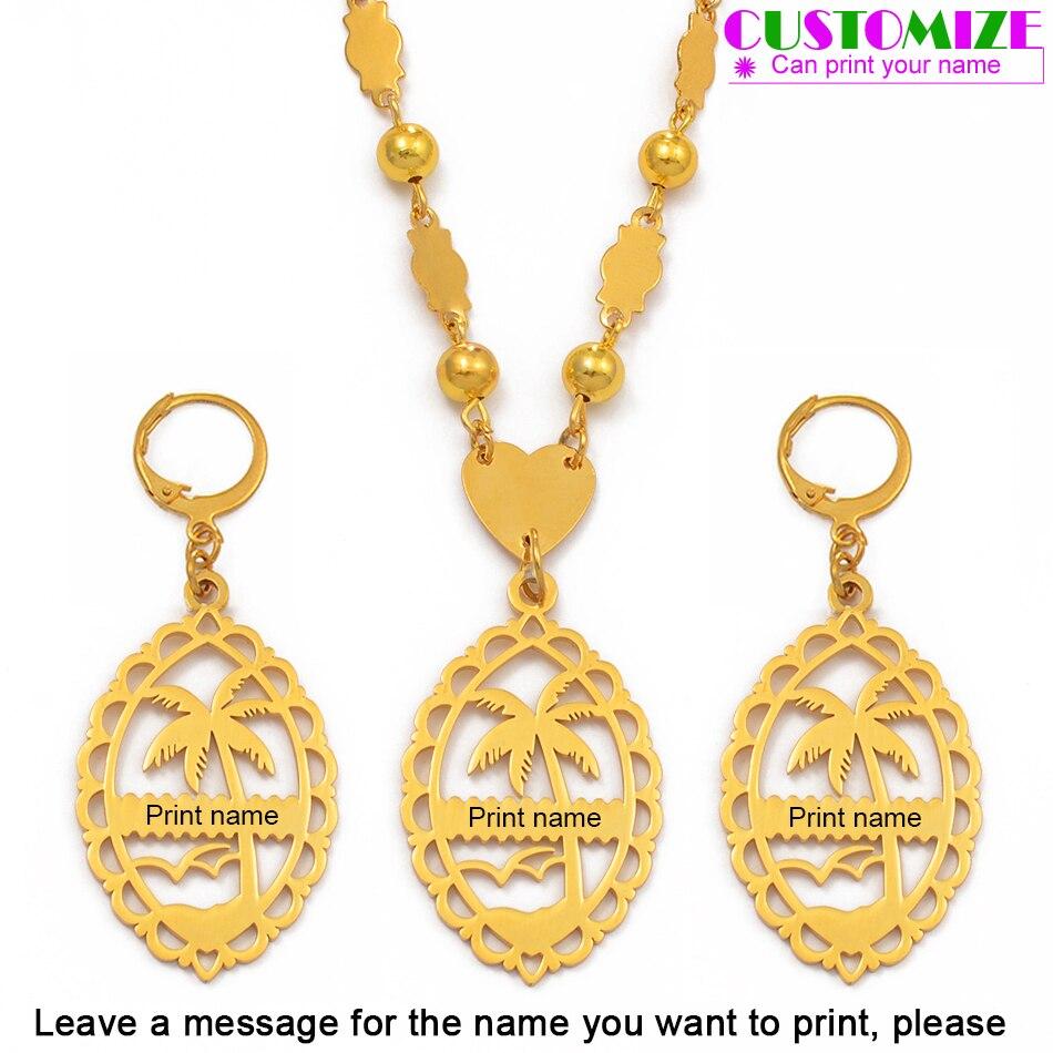 Anniyo настроить имя набор ювелирных бусин ожерелье серьги для женщин Золотой Цвет персонализировать буквы Гуам Гавайи Marshall #076421