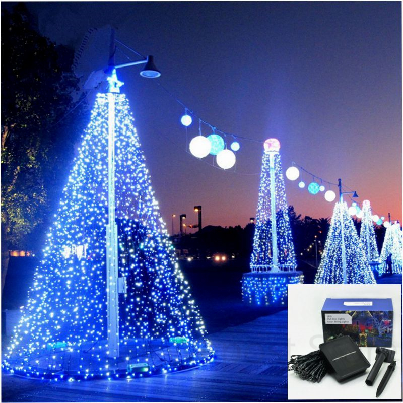 22m 200leds solar led lawn lamp outdoor meteor shower for Lumiere de noel exterieur