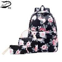 FengDong 3pcs/set girls rose flower printing school backpack set kids floral bag travel backpack school bags for teenage girls