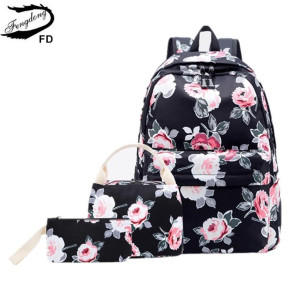 Image 2 - Fengdong 3pcs/set school bags for teenage girls rose flower printing school backpack set kids floral book bag travel backpack