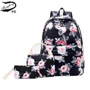Image 2 - Школьные ранцы Fengdong для девочек подростков, дорожные ранцы для книг с цветочным принтом в виде роз, детские рюкзаки, 3 шт./компл.