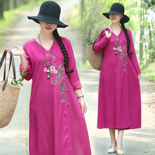 2019 Women Ethnic Literary Cotton Line Embroidery V neck Robe Dress Mori Girl Loose Waist Boho Beach A-line Vestidos