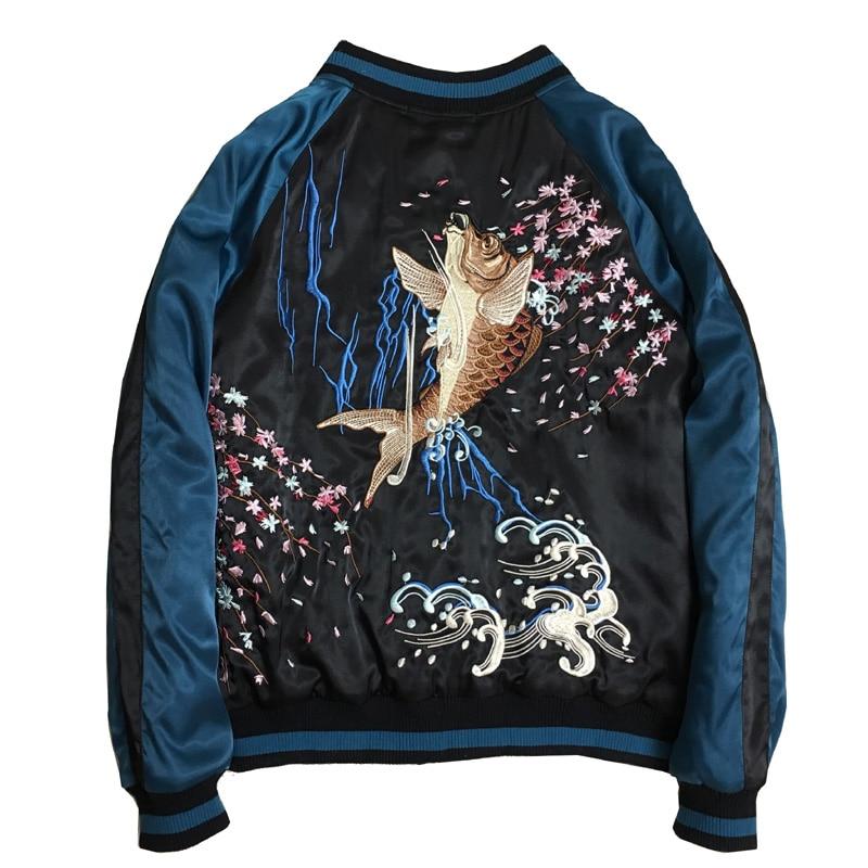 Luxury Carp Embroidered Jackets Smooth Men Sukajan Yokosuka Souvenir Winter Wadded Baseball Jacket Warm Thick Coats