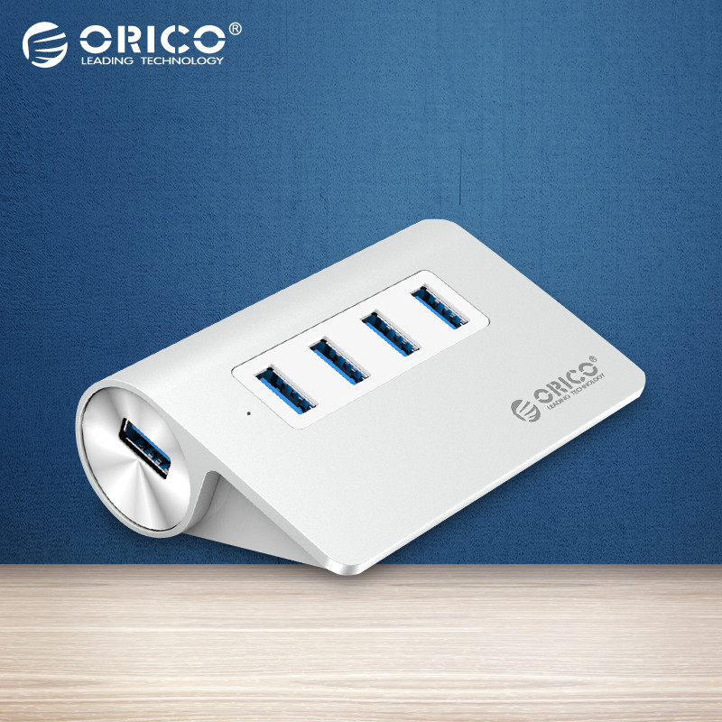 ORICO New Mac Aluminum High Speed Mini 4 Port Micro USB 3.0 HUB with CE FCC Certification-Silver(M3H4-SV)