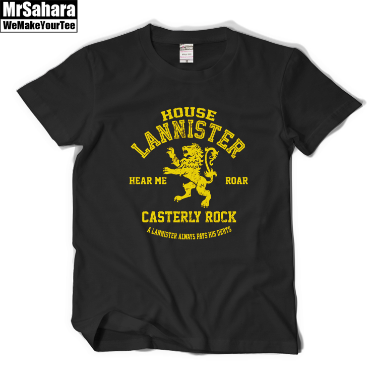 A Song Ice Fire and The Game of thrones House Lannister T-Shirt T-shirt Tees Mens Summer Fashion T Shirt Shirts Cotton
