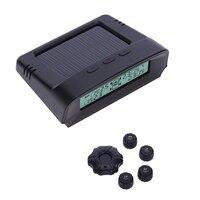 Monitor de Presión de Neumáticos TPMS Inalámbrica de Energía Solar Sistema de Monitoreo de Presión de Neumático de La Rueda LED LCD Auto w/4 Del Coche Del Sensor accesorios