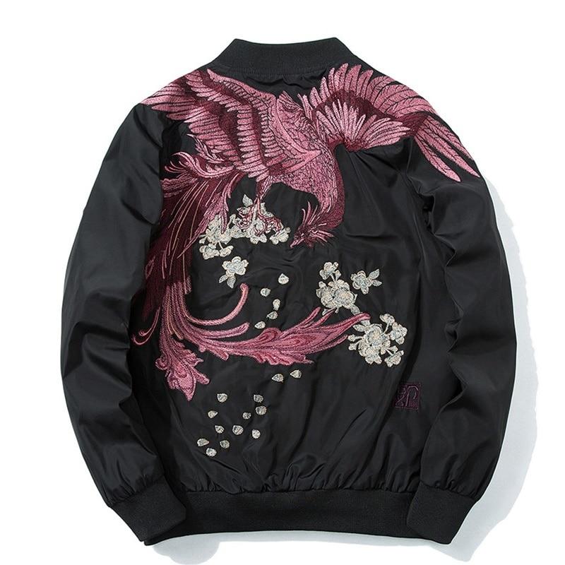 Japanese streetwear mens bomber jackets outerwear male dragon kimono jacket men winter clo