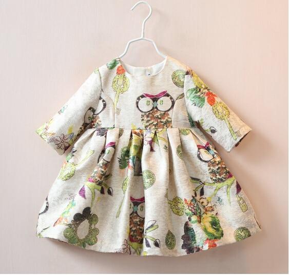 Cute Owl Pattern Children Girl Fall Dress Toddler Girl Three Quarter