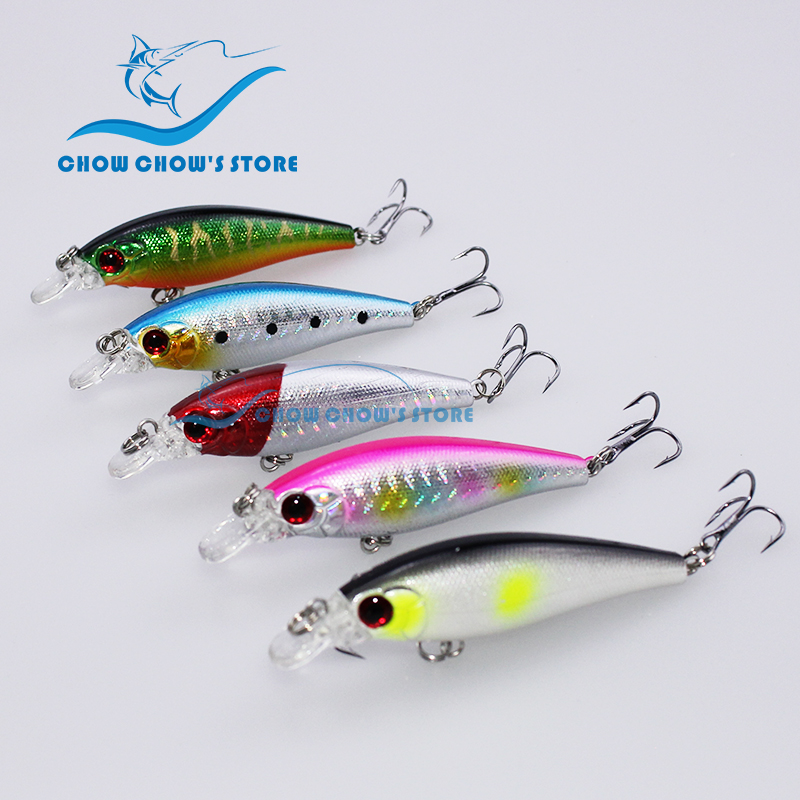 5PCS/Lot 7.4cm 7g Fishing Minnow Lure with Treble Hooks Artificial Bait Plastic Hard 3d eyes pesca trulinoya bass lure leurre lifelike minnow fishing lure 1pcs 9 5cm 11 2g high quality treble hook artificial hard bait treble hook crankbait with 3d eyes