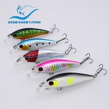 5PCS/Lot 7.4cm 7g Fishing Minnow Lure with Treble Hooks Artificial Bait Plastic Hard 3d eyes pesca trulinoya bass lure leurre