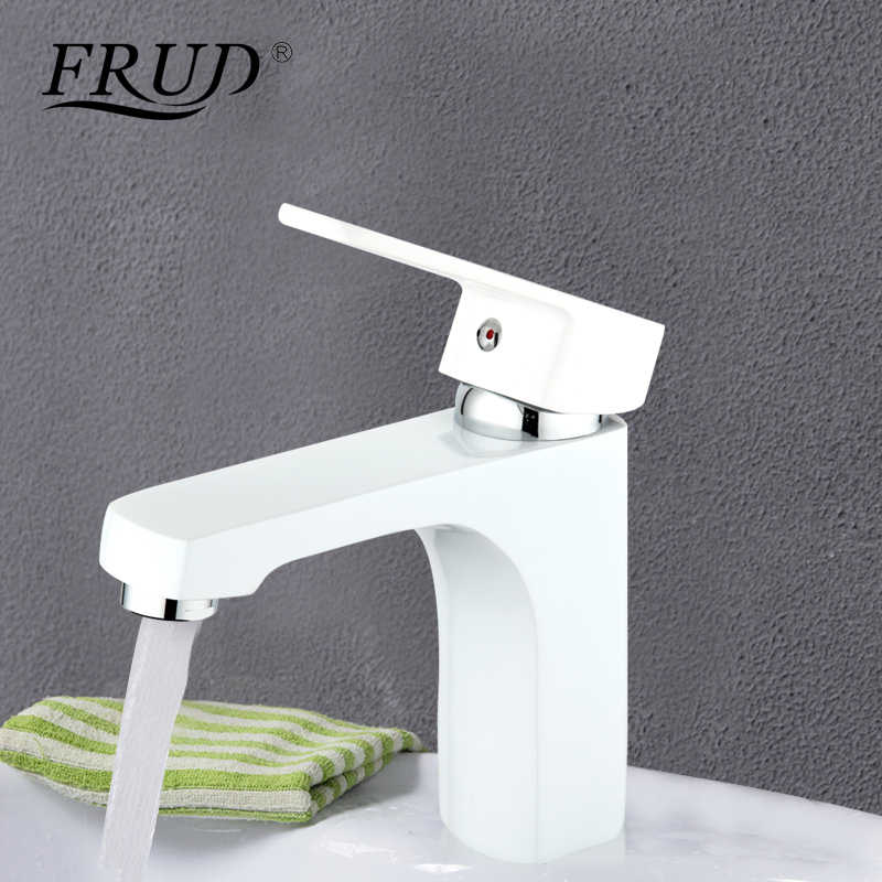 Frud Modern Putih Perlengkapan Kamar Mandi Kuningan Cat Semprot Kran Air Toilet Wastafel Keran Panas dan Dingin Air Bath Mixer r10301-2