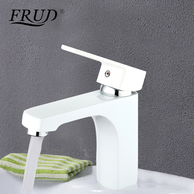 Frud modern white bathroom fixture brass Spray paint faucets toilet water basin sink tap hot and cold water bath mixer R10301-2Frud modern white bathroom fixture brass Spray paint faucets toilet water basin sink tap hot and cold water bath mixer R10301-2