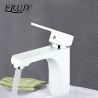 Frud modern white bathroom fixture brass Spray paint faucets toilet water basin sink tap hot and cold water bath mixer R10301 2
