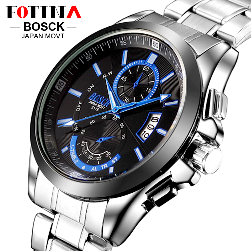 FOTINA Top Brand BOSCK Casual Business Watch Men Stainless Steel Water Resistant Quartz Clock Auto Day
