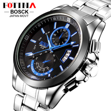 Fotina top marca bosck casual de negocios reloj de los hombres reloj de cuarzo resistente al agua de acero inoxidable auto fecha día relojes montre homme