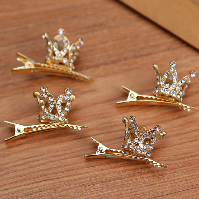 Girls Kids Cute Crystal Princess Party Crown Tiara Hair Pin Clips Silver Plated Women Hair Accessories NEW