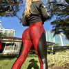 2019 PU Leather Stitched Snakeskin Print Fitness Leggings Sexy Splice Women Booty Push Up Leggins Black Skinny Dry Quick Pants 1