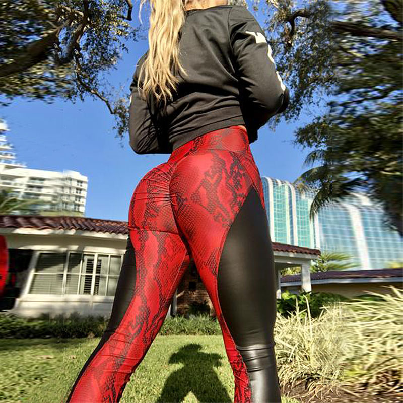 2019 PU Leather Stitched Snakeskin Print Fitness Leggings Sexy Splice Women Booty Push Up Leggins Black Skinny Dry Quick Pants