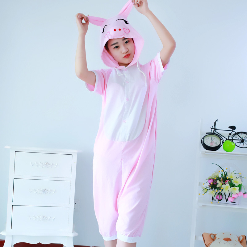 pig Cosplay Summer new cartoon one-piece pajamas Pikachu cotton short-sleeved couple men and women suit  pig pajamas