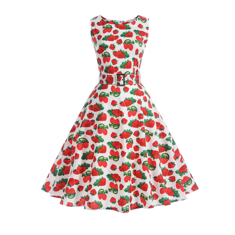 Women Kawaii Lolita Sweet High Waist A Line Dresses Summer Vestidos Audrey  Hepburn Strawberry Print Sleeveless ed5103e26bc1