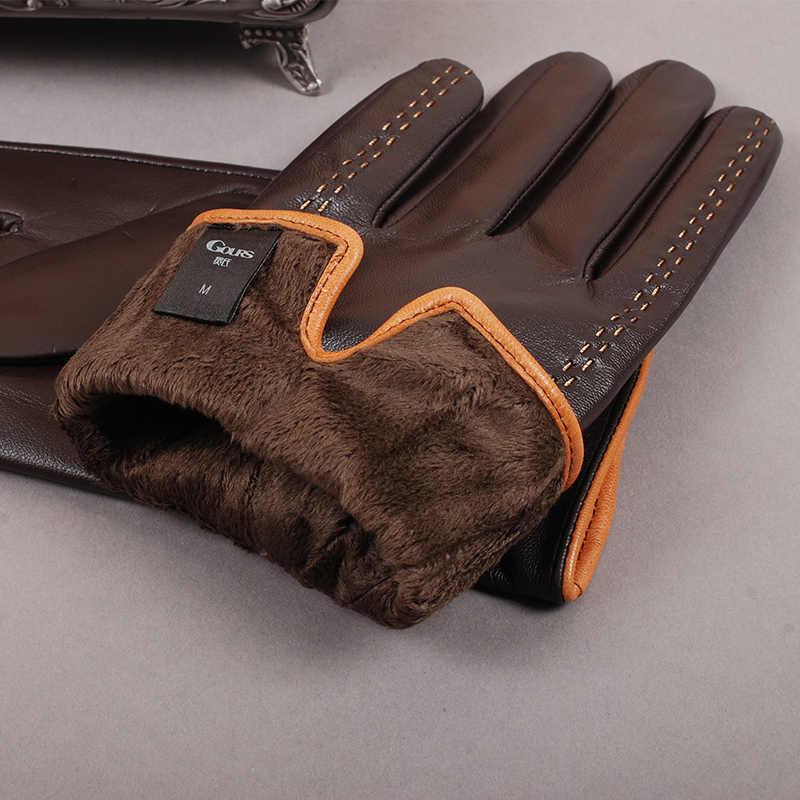 Gours 冬のメンズ本革手袋 2019 新ブランドタッチスクリーン手袋ファッション暖かい黒手袋ゴートスキンミトン GSM012