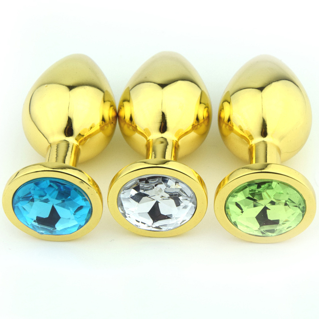 Extreme Anal Jeweled Adult Men Gay Golden Tail Anal Plugs Metal Sex Toys For Women Couple Butt Beads M Size Jewelry Sex Toys