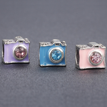 HOMOD 1 Piece Rhinestone Camera Charms European Fashion DIY Beads Fits Pandora Silver Alloy Bead Fit Brand Bracelets & Necklace
