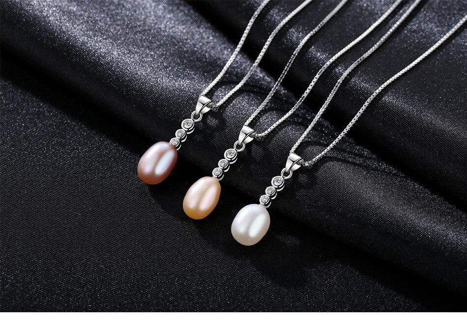 Collier de perles femmes naturel perle d'eau douce pendentif bijoux LBM23