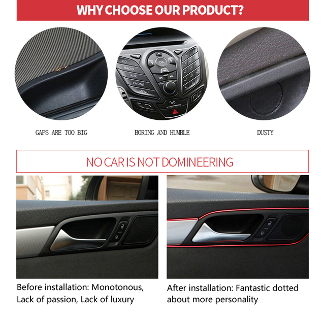 Car Central Control Door Decoration Dashboard Strip For Ford Focus 2 1 Fiesta Mondeo 4 3 Transit Fusion Ranger Mustang KA S-max