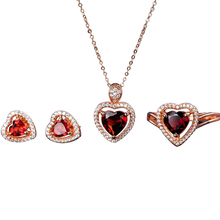 romantic 925 sterling silver natural red garnet earring necklace pendant ring heart jewelry set for female wedding engagement