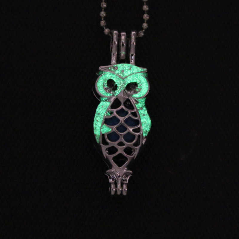 6pcs Glamour Luminous Owl Pearl CAGE จี้สร้อยคอ Aroma Diffuser เครื่องประดับคริสต์มาสของขวัญผู้หญิงสร้อยคอแฟชั่น