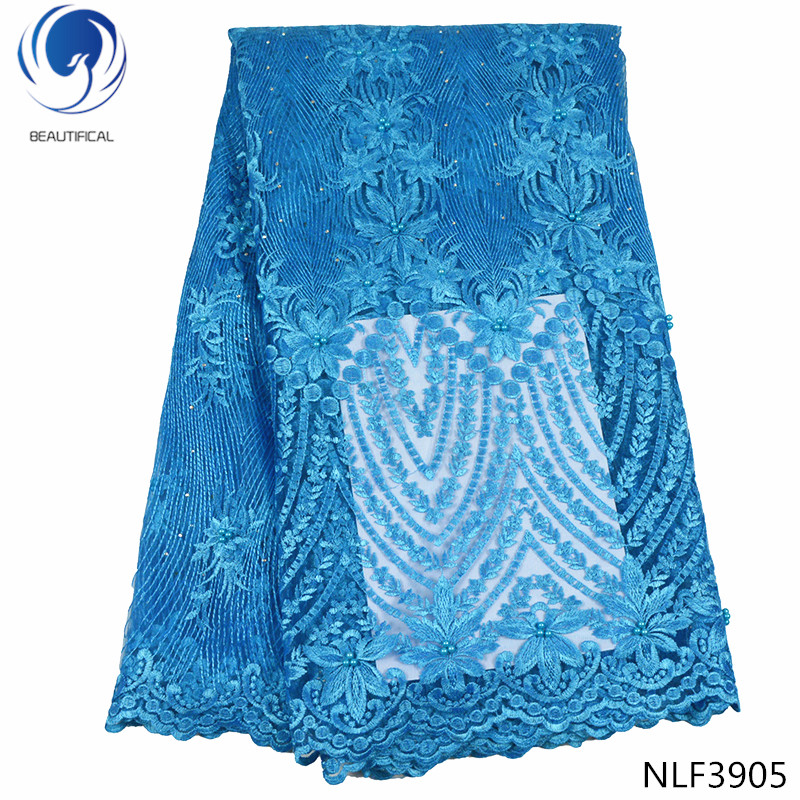 BEAUTIFICAL blue french lace fabric nigerian lace fabrics 2019 high quality lace beaded lace fabric 5yard/lot materials NLF39BEAUTIFICAL blue french lace fabric nigerian lace fabrics 2019 high quality lace beaded lace fabric 5yard/lot materials NLF39