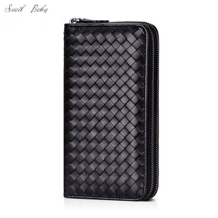 sheepskin woven Wallet genuine Leather Double zipper bag male and female wallet large capacity Wallet zuoyi crocodile leather original zipper snap multifunctional in large capacity and long wallet