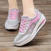 7bc8fe064 عالية منصة أحذية رياضية النساء شبكة تنفس أحذية رياضية حذاء كاجوال طالب الرياضة  احذية الجري #