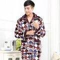 Outono e inverno flanela pijamas de manga comprida terno dos homens mink veludo inverno de espessura coral de veludo pijamas dos homens pijamas homme