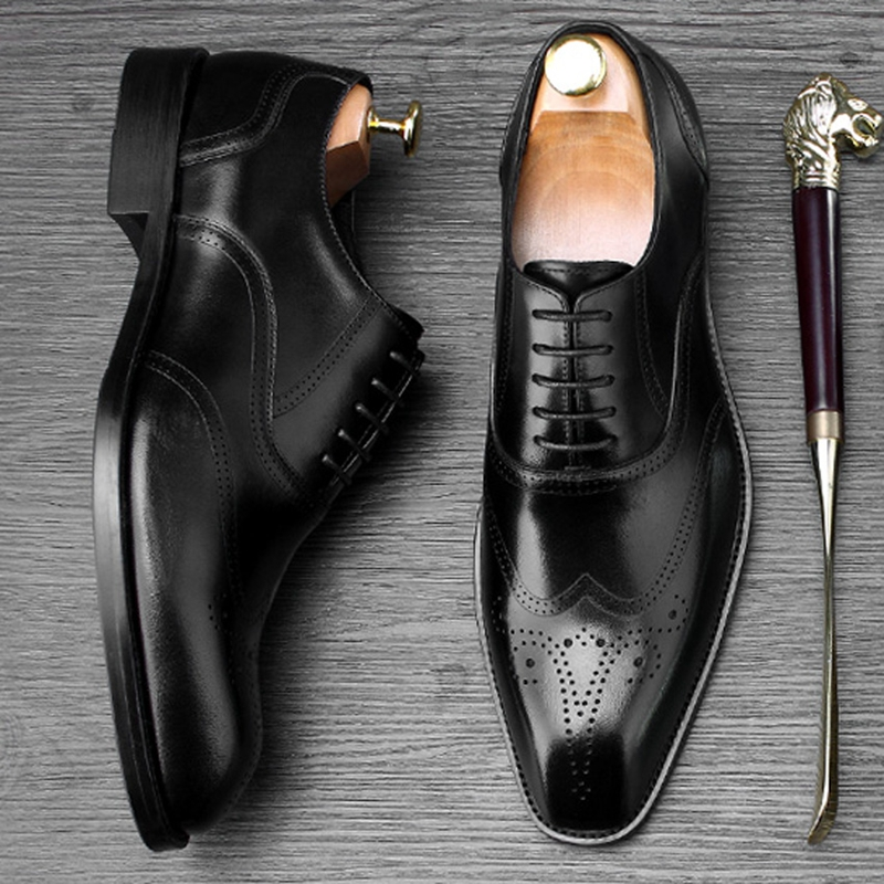 Zapatos Marca Boda Pisos Lujo Genuino Vestido marrón Hombres Oxford Wingtip Fiesta Mano A Pie Dedo Formal Oxfords De Negro Del Hecho Cuadrado Los Cuero Ss471 wqxfdIqv