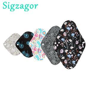 Image 1 - [Sigzagor]S M L XL Cloth Menstrual Pad Sanitary Bamboo Charcoal Reusable Washable Panty Liner Regular Overnight