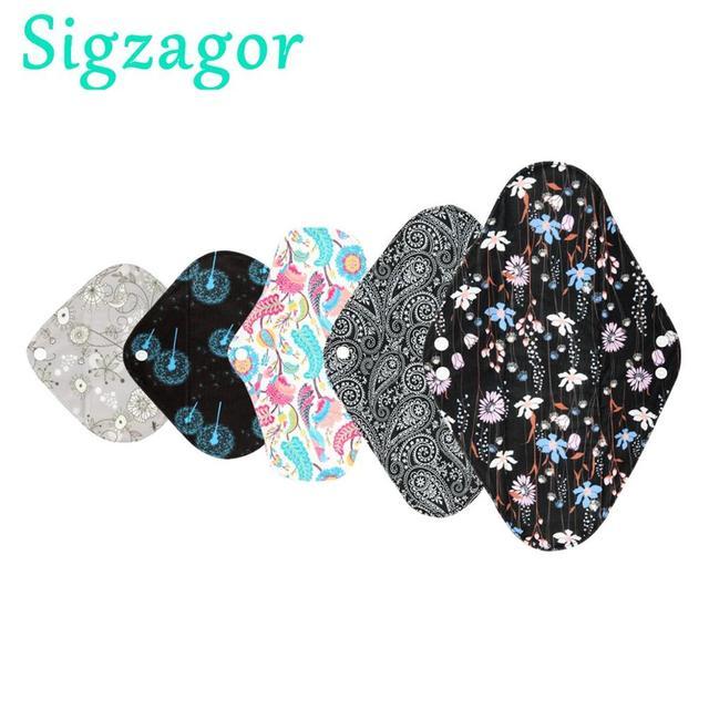 [Sigzagor]S M L XL Cloth Menstrual Pad Sanitary Bamboo Charcoal Reusable Washable Panty Liner Regular Overnight
