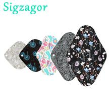 [Sigzagor]S M L XL בד וסת Pad סניטרי במבוק פחם לשימוש חוזר רחיץ תחתונים רגיל אניה לילה