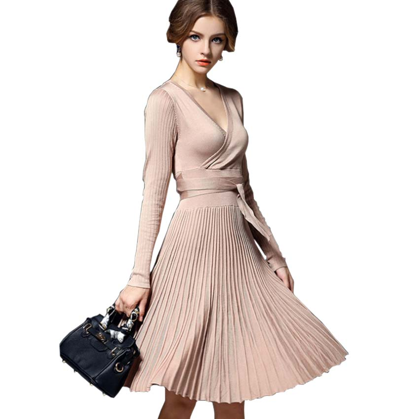 Women Knitted Dress 2017 New Autumn Fashion Casual Long Sleeve Sexy V-Neck Knee-length Solid Knitting Winter Dress Vestidos new arrival 2018 autumn knitted dresses fashion women long sleeve v neck knee length dress casual solid female dress clothes